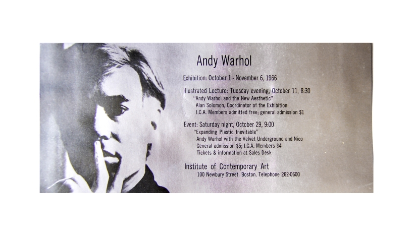 "The front of the invitation in original condition. Card stock is wavy. Note the event is called ""Expanding Plastic Inevitable"" here. Warhol liked to mix it up that way."