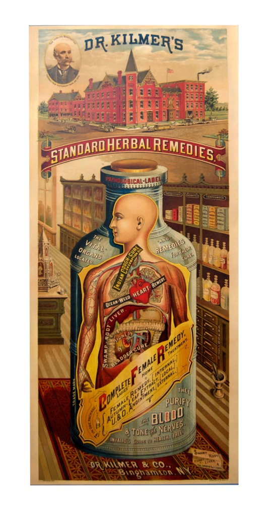 And here it is, the final product! Take a second to appreciate all the tiny details in this gorgeous advertisement. Aside from the amazing anatomical diagram, there are the labeled bottles on the shelves, and that cathedral-like soda fountain on the left. Makes you wish for former times when they really knew how to do things. Except medicine.