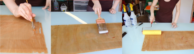A small paintbrush is used to spread paste onto the back of the fragmented area. She uses a larger brush and a roller to cover the less fragile parts.